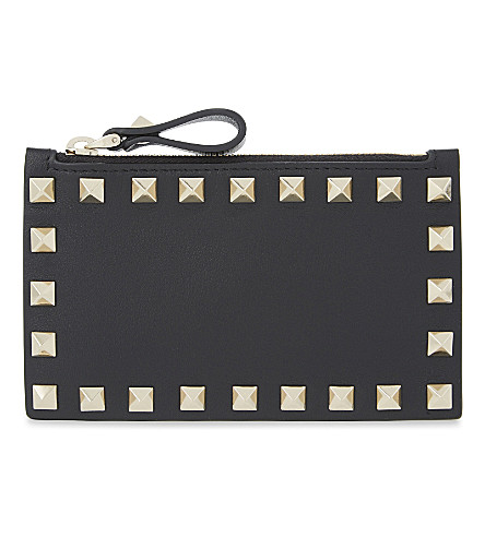 VALENTINO Rockstud leather card holder (Black