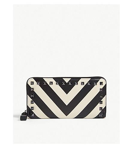 VALENTINO Rockstud stripe print leather continental wallet (Black/white