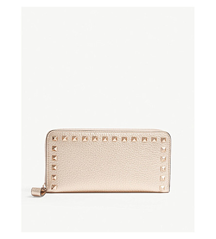 VALENTINO Rockstud small leather continental wallet (Rose+gold