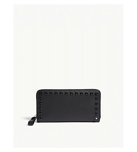 VALENTINO Rockstud small leather continental wallet (Black/black