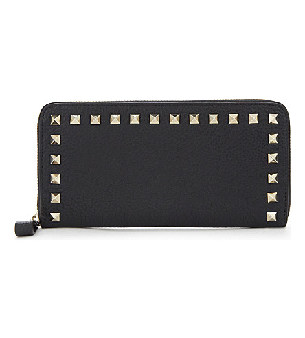 VALENTINO Rockstud small leather continental wallet (Black