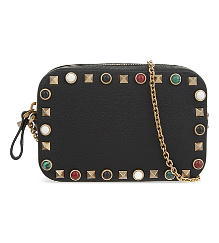 VALENTINO - Mini Rockstud leather camera bag  Selfridges.com