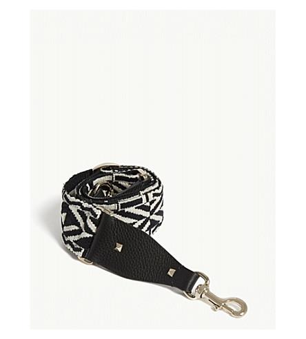 VALENTINO 花纹编织吉他袋表带 (黑色/白色