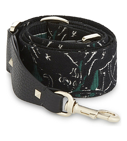 VALENTINO Embroidered panther bag strap (Green+black