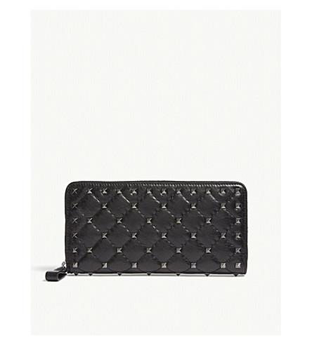 VALENTINO Rockstud quilted leather zip-around wallet (Black