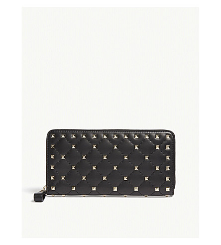 VALENTINO Rockstud quilted leather zip-around wallet (Black