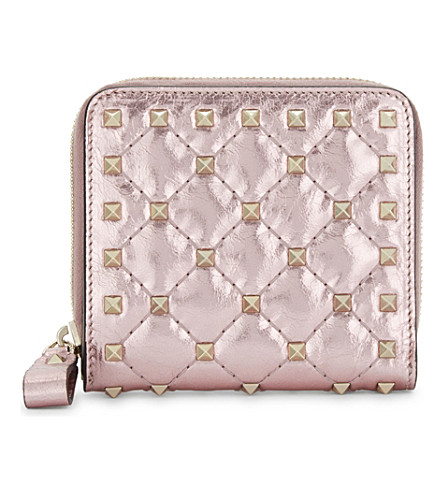 VALENTINO Rockstud quilted leather purse (Lipstick