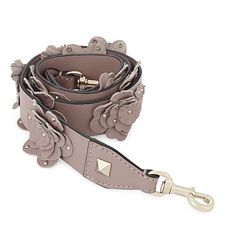 VALENTINO Floral leather bag strap (Lipstick