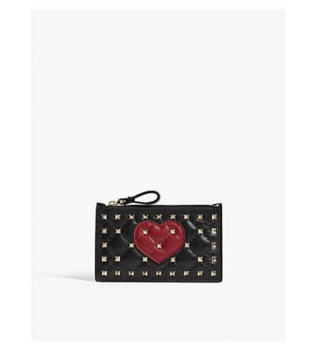 VALENTINO Rockstud heart quilited leather zipped card holder (Black/red