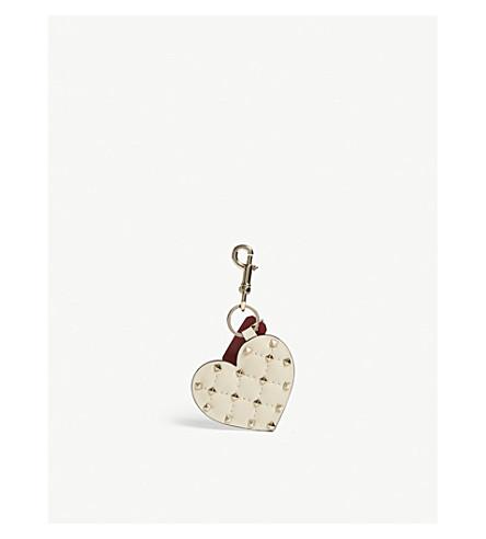 VALENTINO Rockstud spikes heart leather bag charm (Light+ivory