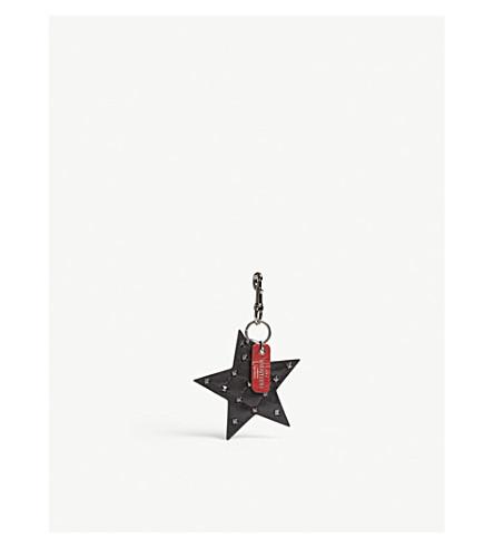 VALENTINO Rockstud spike star bag charm (Black