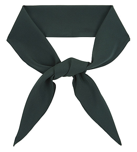 CHLOE Crepe silk scarf (Forest green