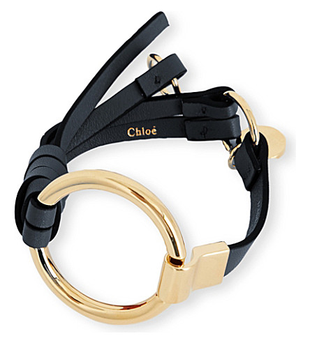 CHLOE Leather and brass circle bracelet (Black