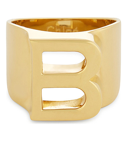CHLOE Alphabet B ring (Gold
