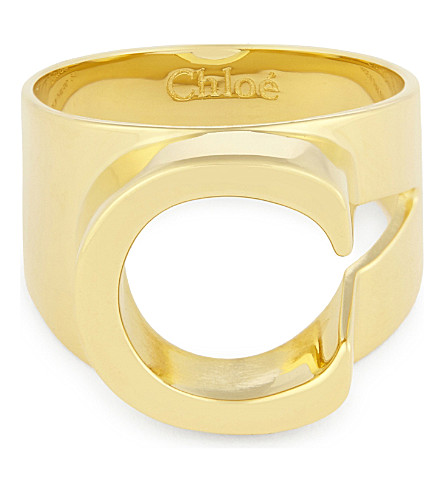 CHLOE Alphabet C ring (Gold