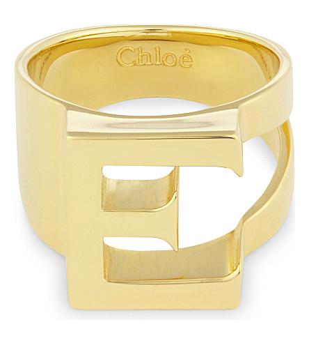 CHLOE Alphabet E ring (Gold