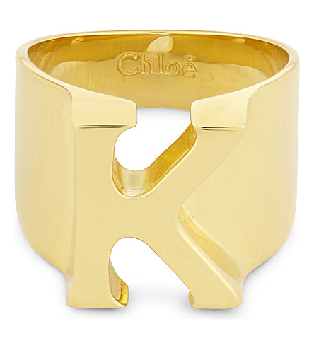 CHLOE Alphabet K ring (Gold