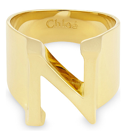 CHLOE Alphabet N ring (Gold