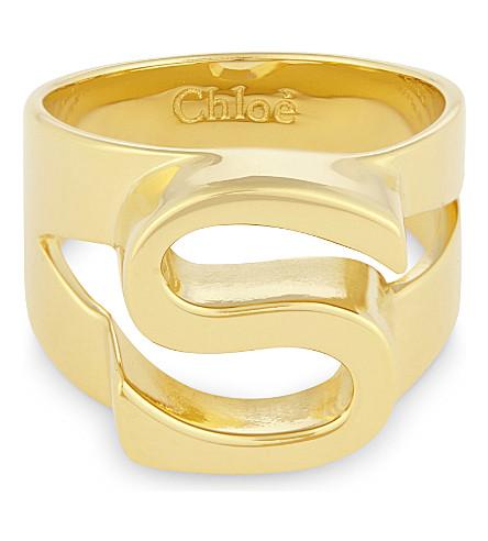 CHLOE Alphabet S ring (Gold