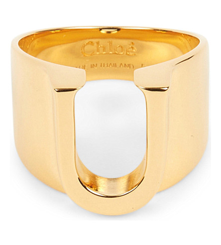CHLOE Alphabet U ring (Gold