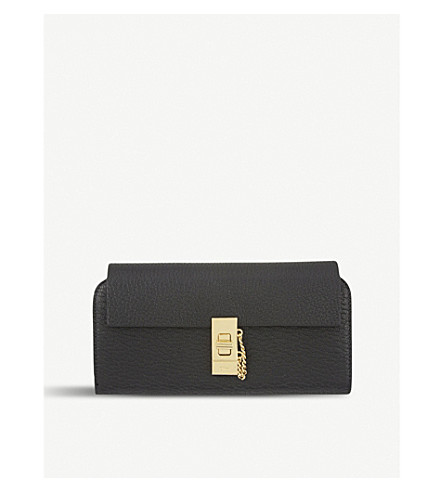 CHLOE Drew lamb leather wallet (Black