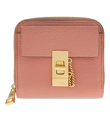 CHLOE Drew lamb leather wallet (Misty+rose