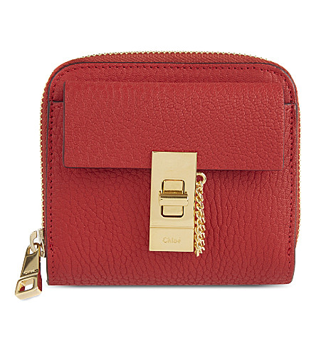 CHLOE Drew lamb leather wallet (Plaid+red