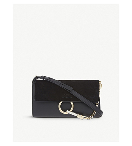 CHLOE Faye leather & suede clutch (Black