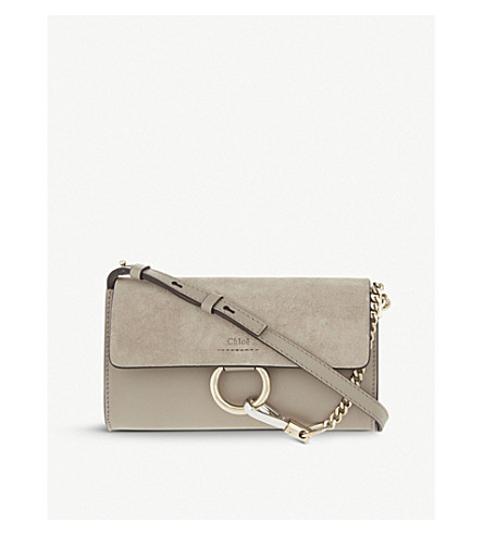 CHLOE Faye leather and suede clutch (Motty grey