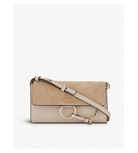 CHLOE Faye leather and suede clutch bag (Cement+pink
