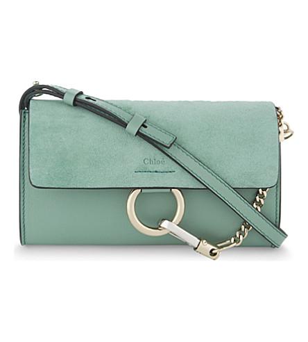 CHLOE Faye suede wallet on chain (Happy green