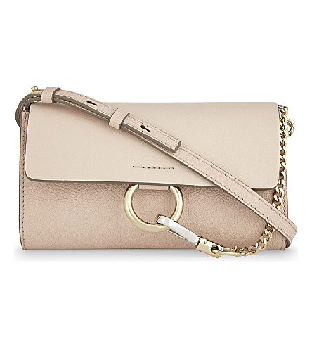 CHLOE Faye leather wallet-on-chain (Cement pink