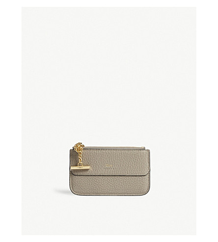 CHLOE Drew leather card holder (Motty+grey