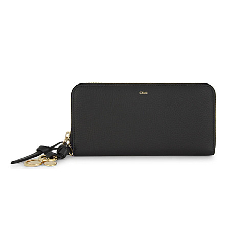 CHLOE ABC long leather wallet (Black