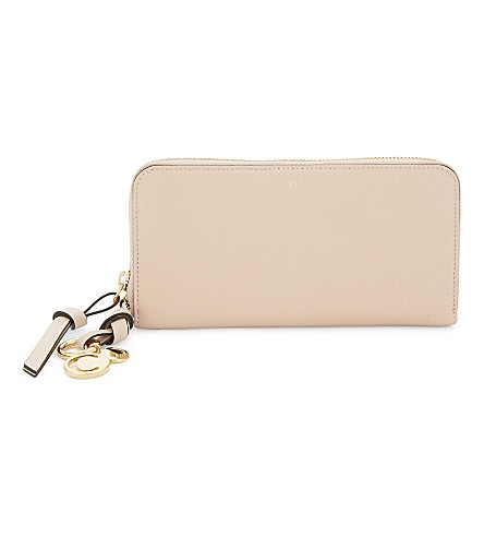 CHLOE ABC long leather wallet (Blush+nude