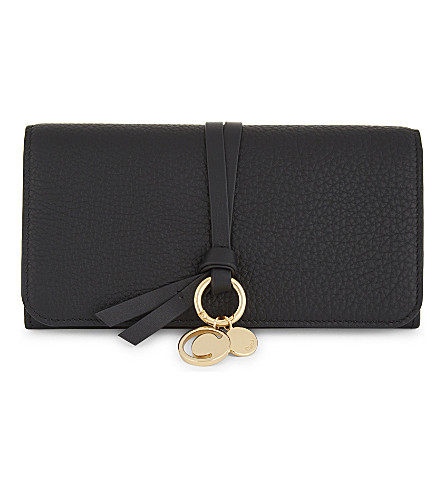 CHLOE Alphabet long flap leather wallet (Black