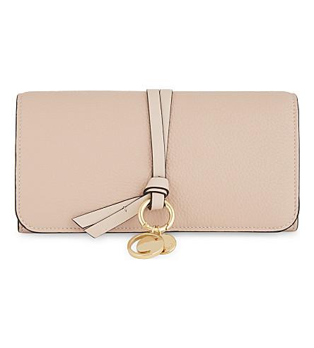 CHLOE Alphabet long flap leather wallet (Blush nude