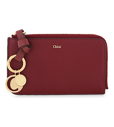 CHLOE ABC leather card pouch (Intense+red