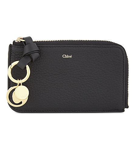 CHLOE ABC grained leather cardholder (Black