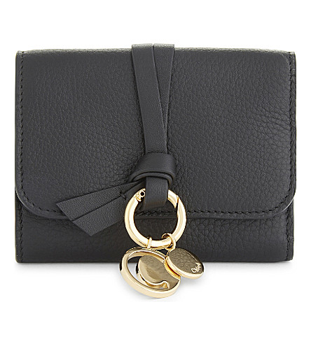 CHLOE ABC grained leather card holder (Black