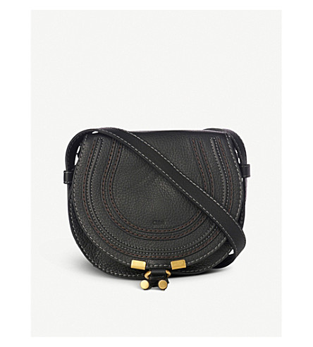 CHLOE Marcie small leather saddle bag (Black