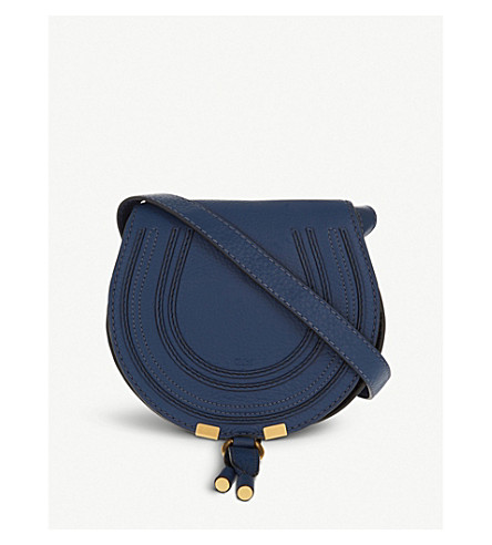 CHLOE Marcie leather cross-body saddle bag (Navy