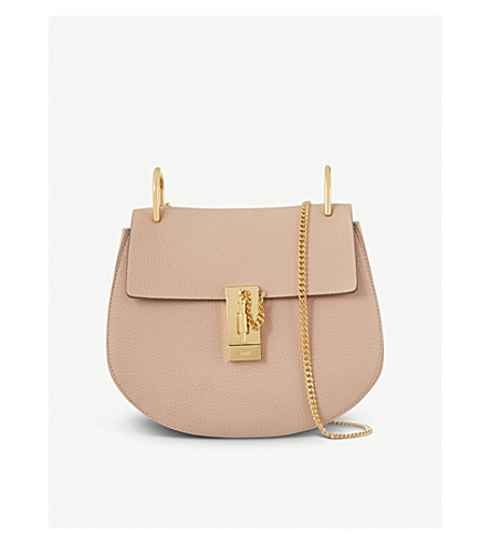 CHLOE Drew small leather cross-body bag (Cement+pink