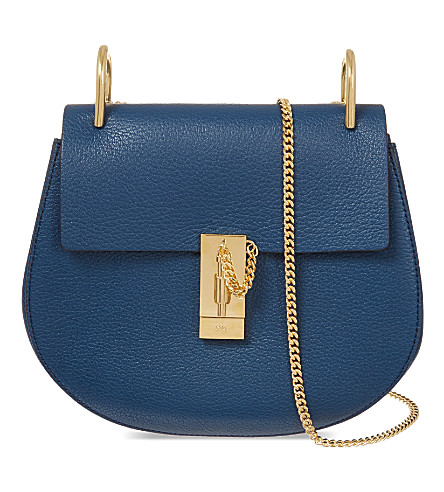 CHLOE Drew small leather cross-body bag (Factory blue