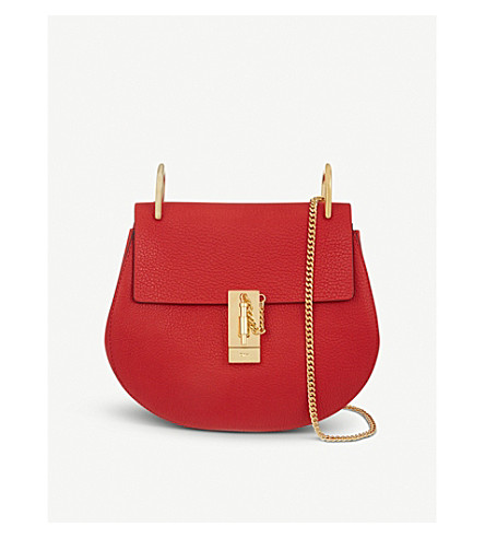 CHLOE Drew small leather cross-body bag (Plaid red