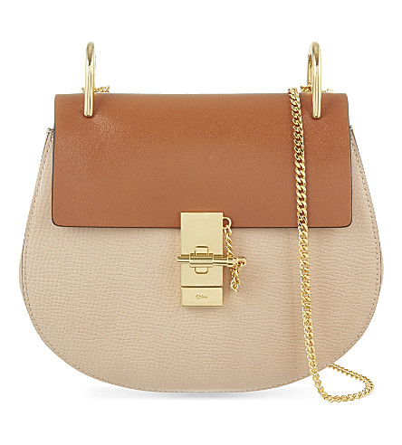 CHLOE Drew small leather cross-body bag (Powder beige