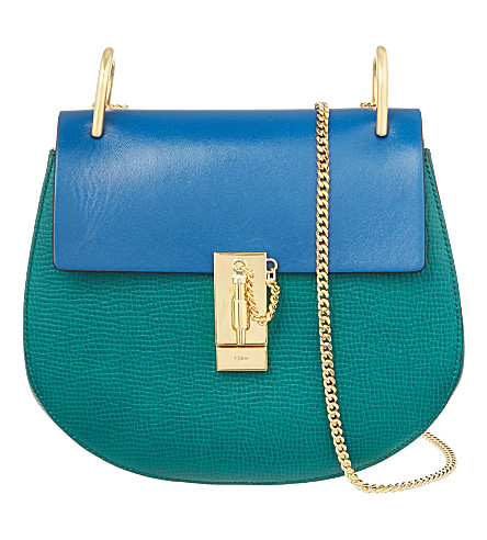 CHLOE Drew small leather cross-body bag (Stone green
