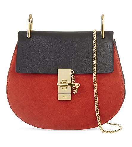 CHLOE Drew small saddle cross-body bag (Black+plaid+red