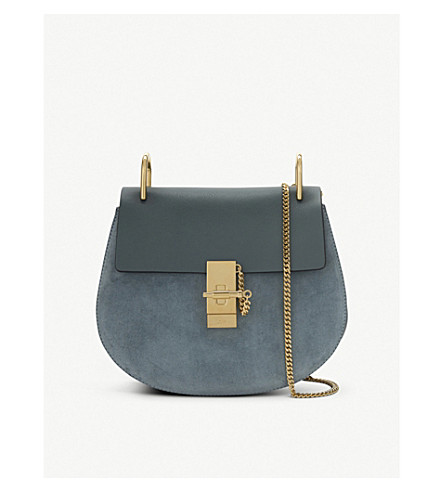 CHLOE Drew small saddle cross-body bag (Cloudy+blue