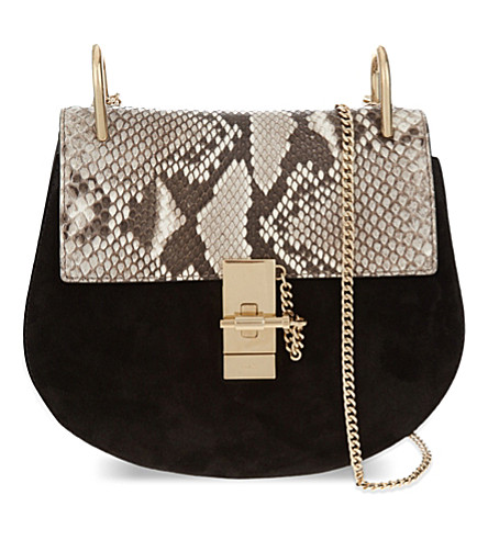 CHLOE Drew small python leather shoulder bag (Black